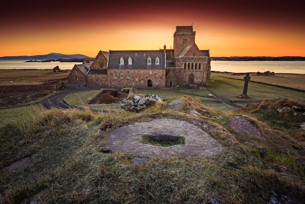 Sunset over Iona Abbey on the Isle of Iona